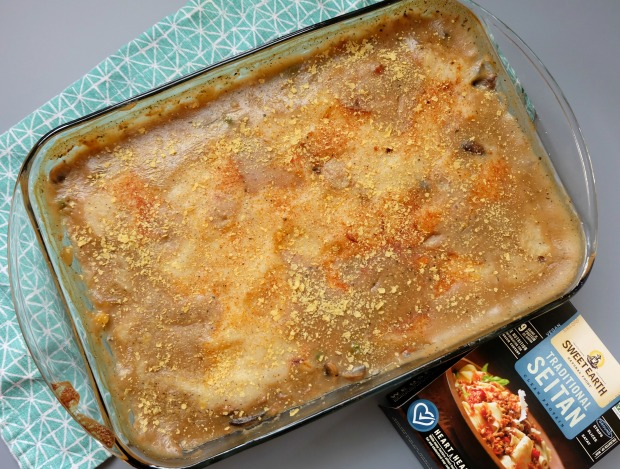 seitan shepherds pie in a glass casserole dish